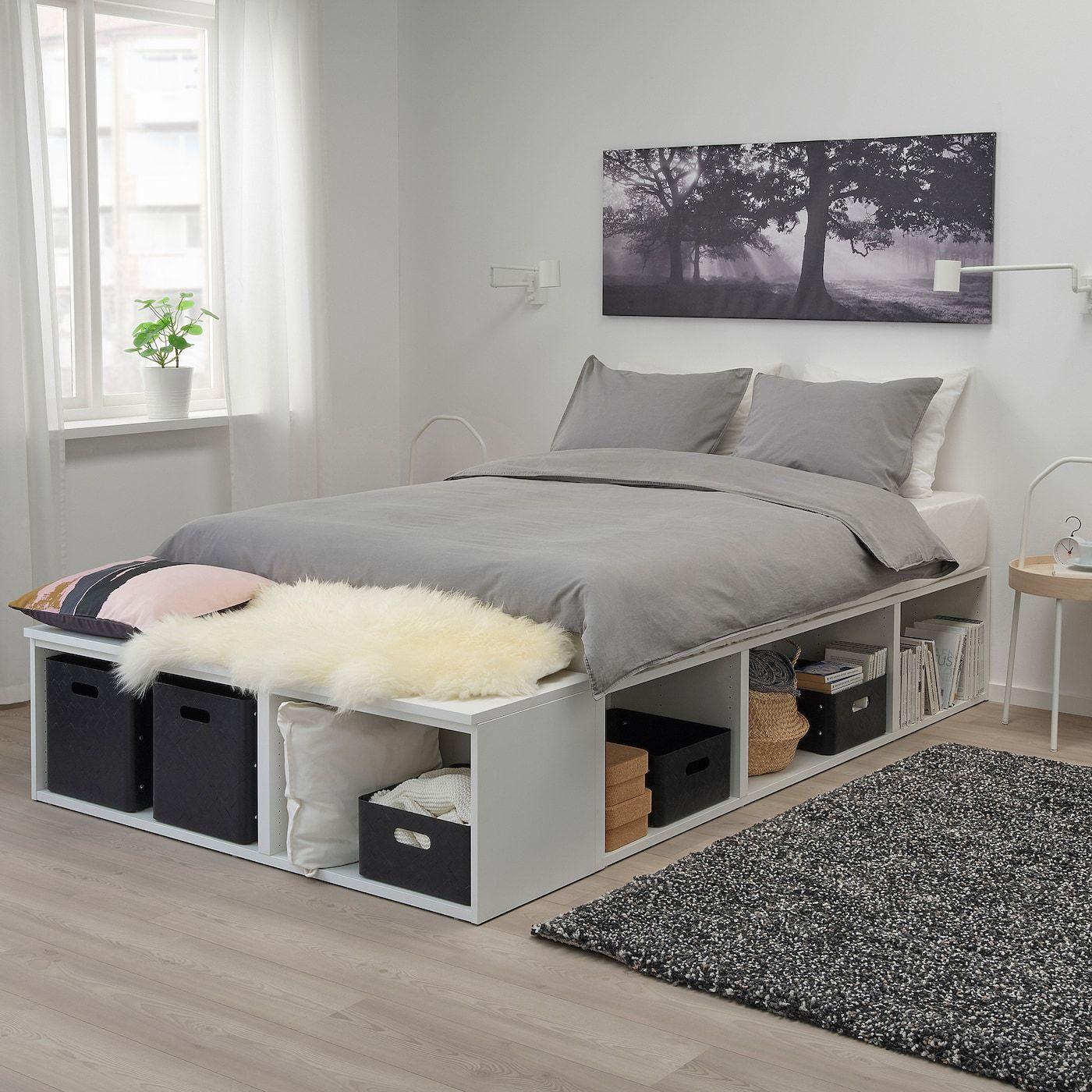 Platsa أبيض سرير مع تخزين مساحة تخزين العمق 40 سم الطول 244 سم ايكيا Ikea Bed Frames Bed Frame With Storage Diy Storage Bed