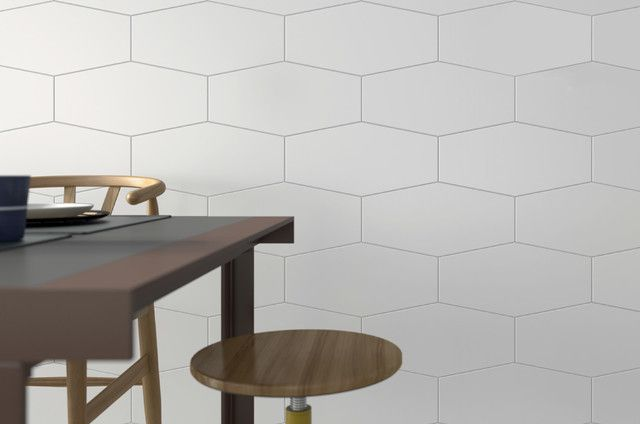 Matrix Hexagon 10 X 20 White Matte Finish Porcelain Tile 4 79 Per Square Foot Elegance Tiles Kitchen Backsplash Inspiration White Hexagon Tiles