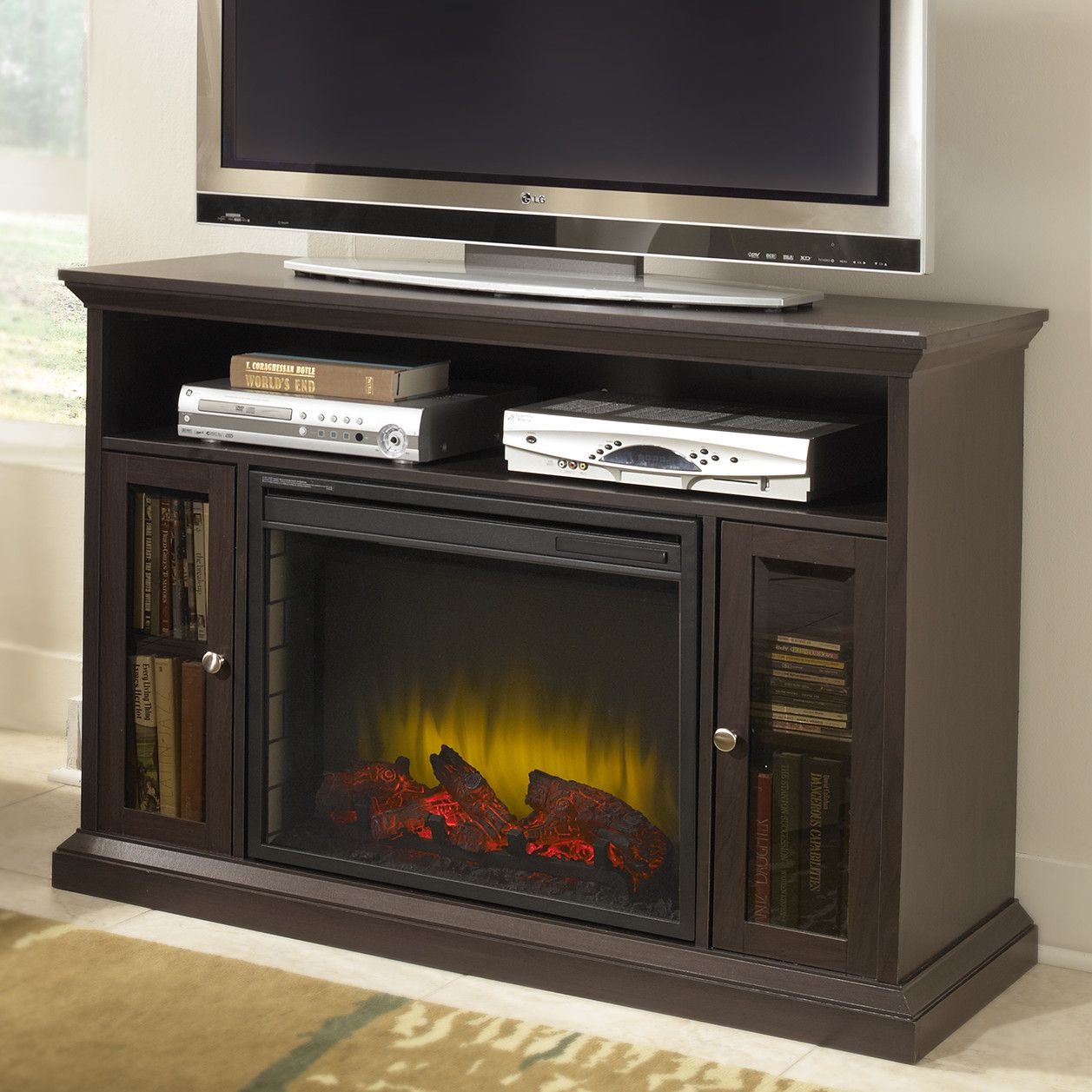 Burma Media Console With Electric Fireplace Fireplace Tv Stand