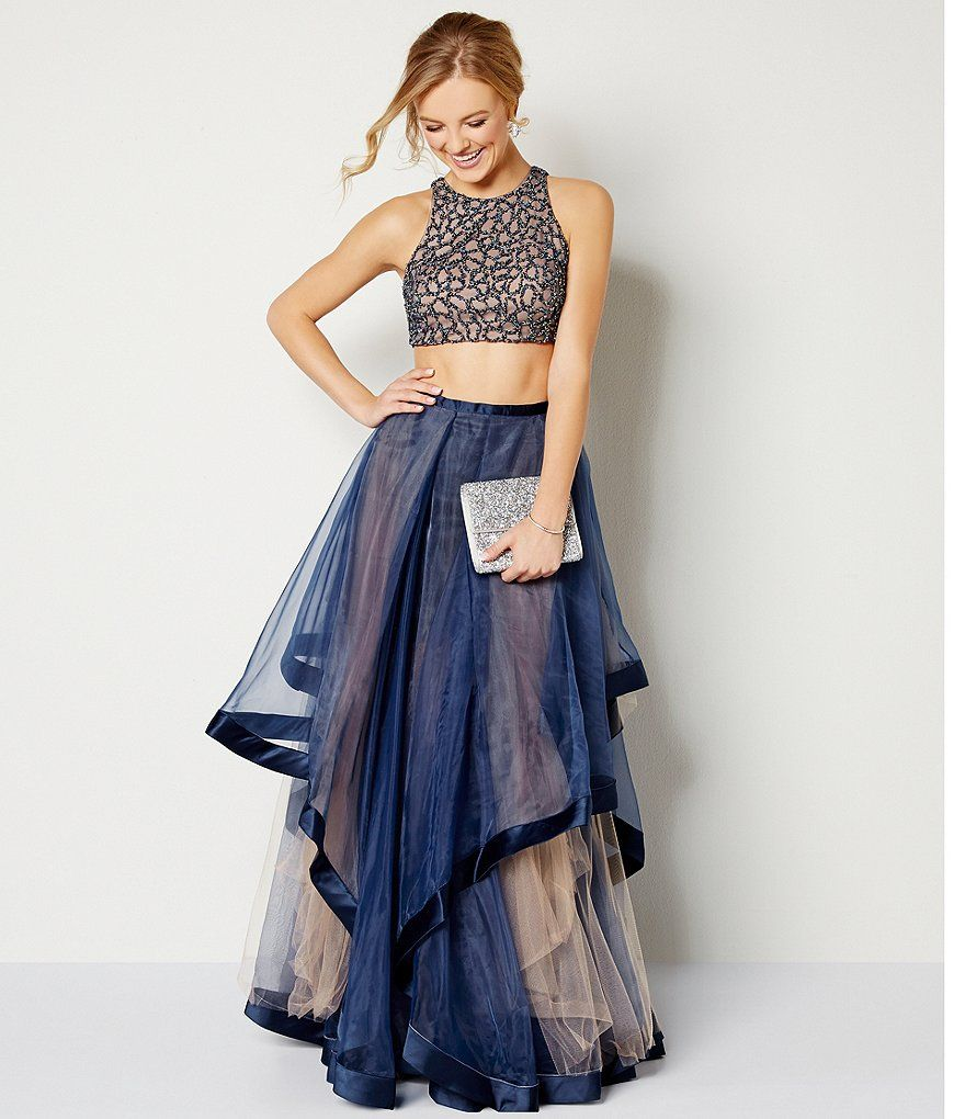 84dd817f887 Navy Nude Glamour by Terani Couture High Neck Beaded Bodice Crop-Top Two- Piece Ball Gown