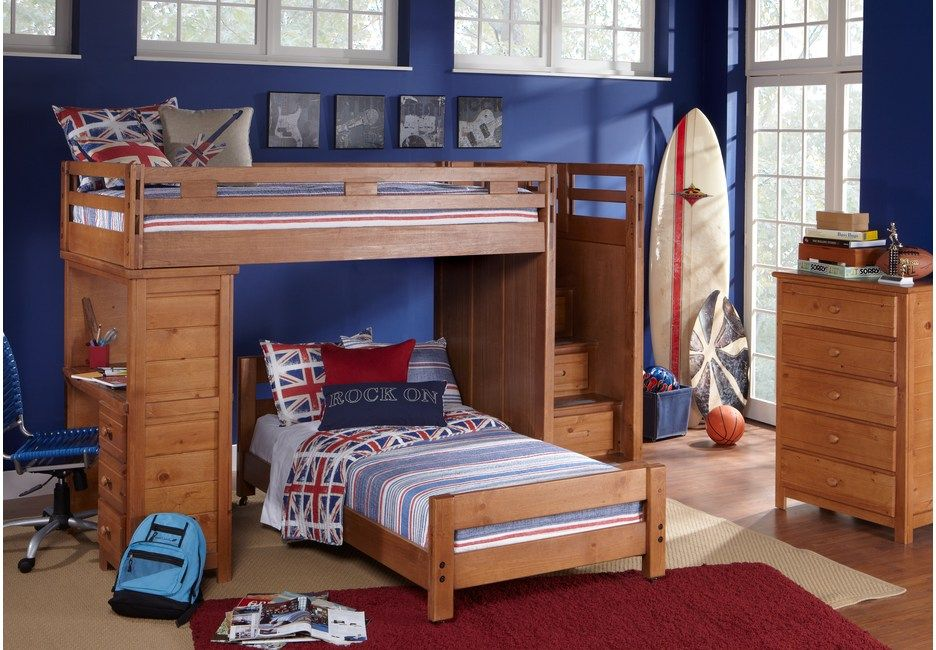 Creekside Taffy Twin Twin Step Bunk Bed with Desk - Boys ...