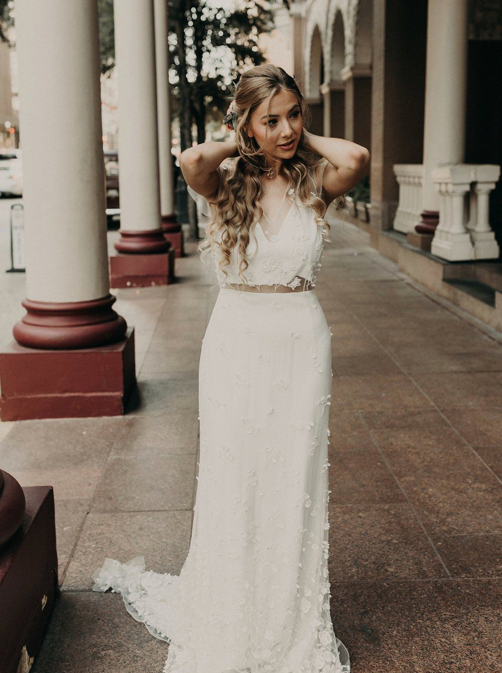 Urban Cliffside Styled Shoot In Austin Boho Wedding Inspiration Bridal Gowns Vintage Boho Bridal Gowns