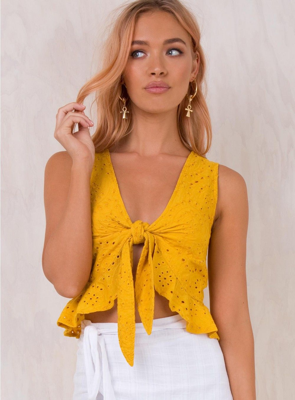08a9c418864826 Jilly Tie Front Top Mustard | Coachella Outfit Ideas 2018 in 2019 ...