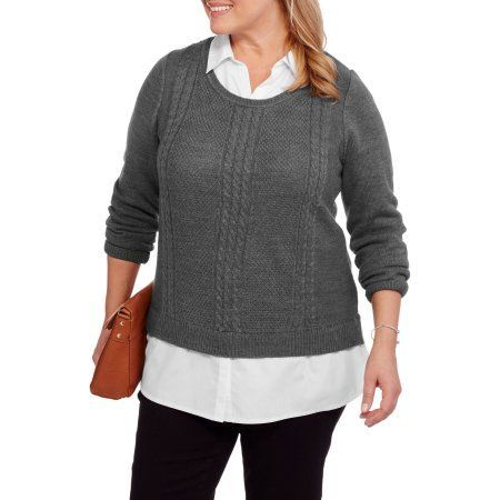 f04e22b495cabf Plus Size Faded Glory Women s Plus Twofer Sweater with Built-In Collared  Shirt