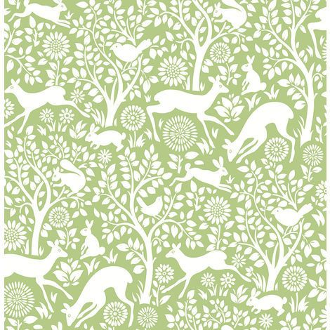Woodland Meadow Print Wallpaper in green and white. Amazing woodland wallpaper from Fine Decor.