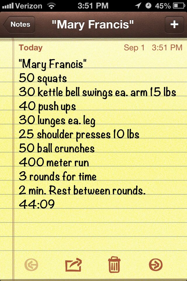 Mary Francis Wod: squats, kettlebell swings, pushups, lunges, push press, crunches, run.