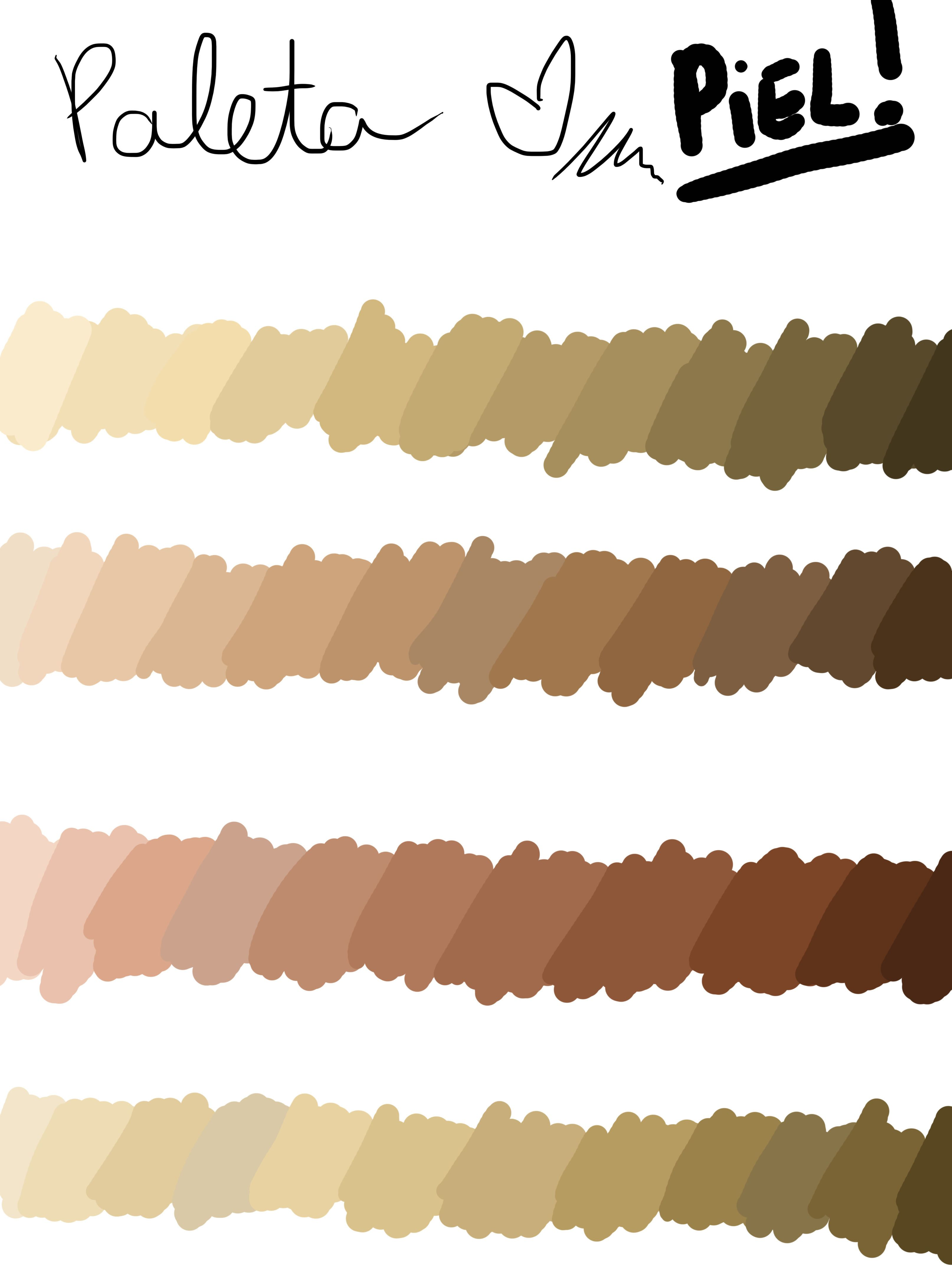Paleta De Colores Para Tonalidades De Piel Different Skin Tones In A Palette Which Is Very Useful For Adobe P Colores De Piel Tonos De Piel Paletas De Colores