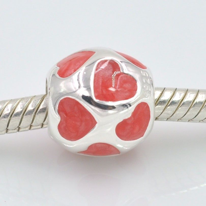 Love Heart with Enamel Charm Beads