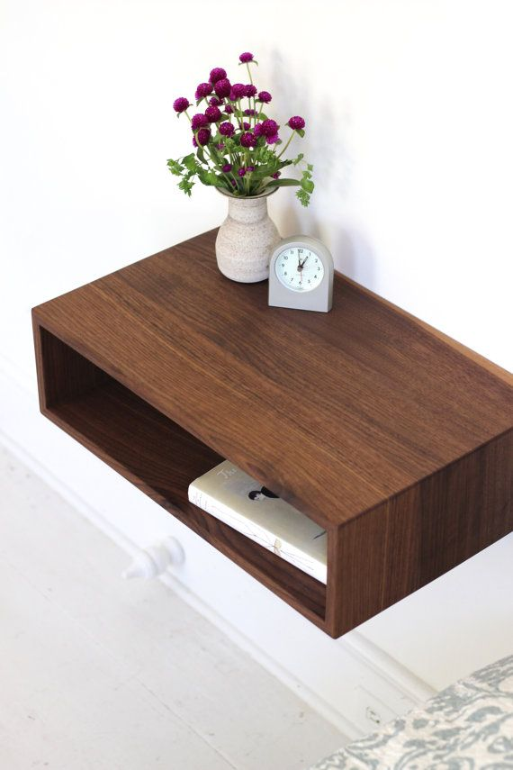 Floating Nightstand / Mid Century Modern Bedside Table in Solid ...