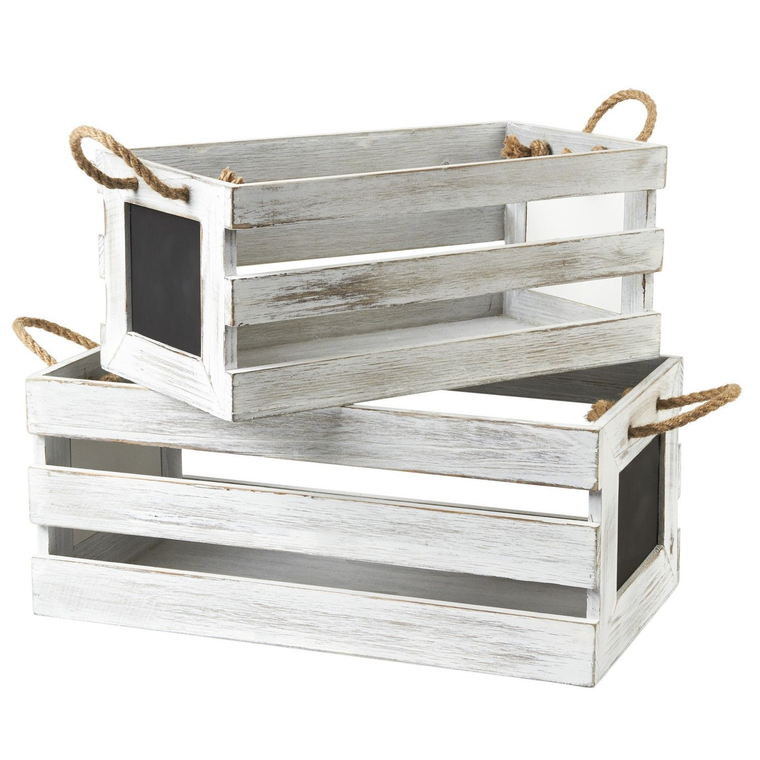 Perfect for Floral Arrangements Gardening Wedding Vintage Country Chic Rustic Distressed Style Set of 3, Light Green SLPR Decorative Storage Wooden Crates