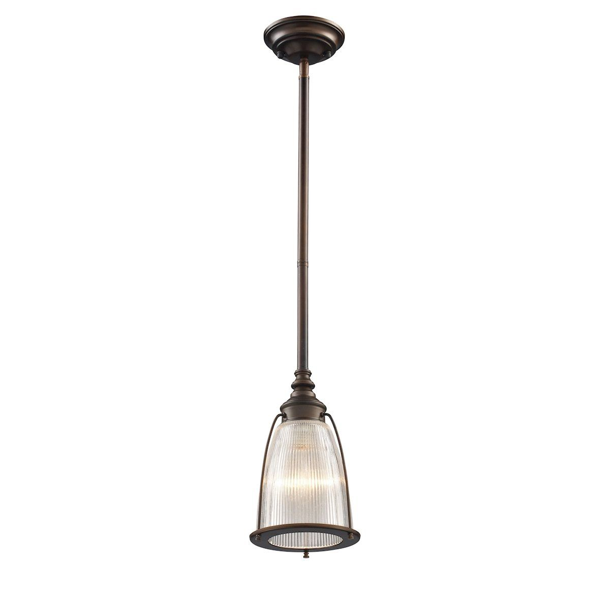 halophane 1 light pendant in aged bronze by elk lighting group