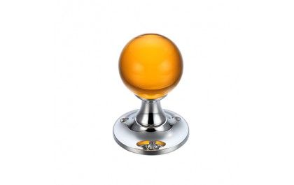 Amber Glass Ball Mortice Door Knob Clear - Polished Chrome - Knob ...