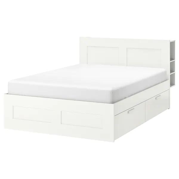 Brimnes Bed Frame With Storage Headboard White Luroy Full En 2020 Tete De Lit Avec Rangement Lit Blanc Cadre De Lit