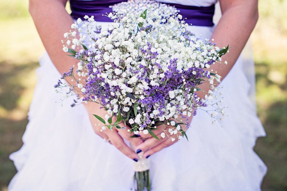 Dried Statice And Baby S Breath Bouquet Purple Wedding Bouquets