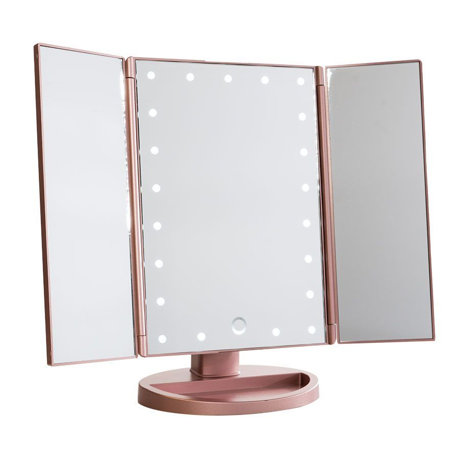 Touch trifold dimmable led makeup mirror vanities rose and makeup