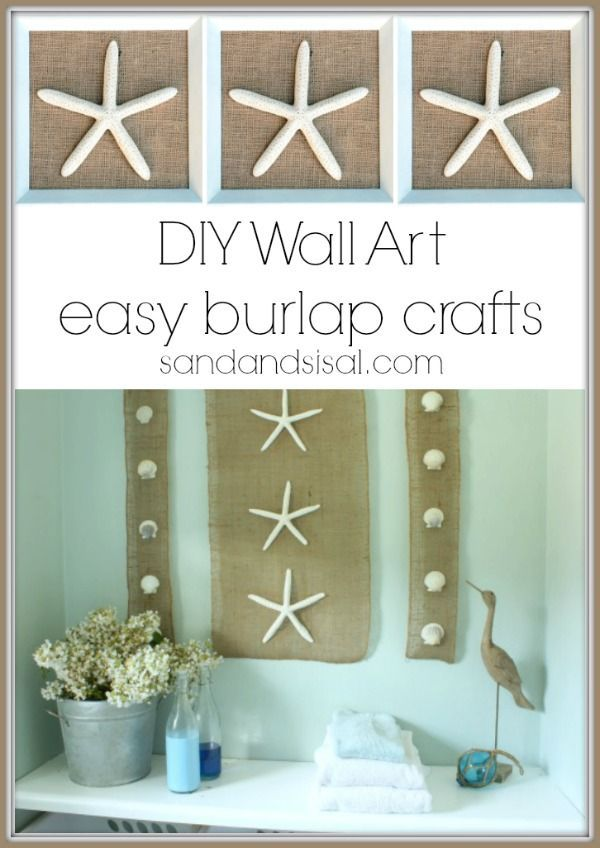 Diy Wall Art Coastal Burlap Craft Burlap Crafts Diy Wall Art