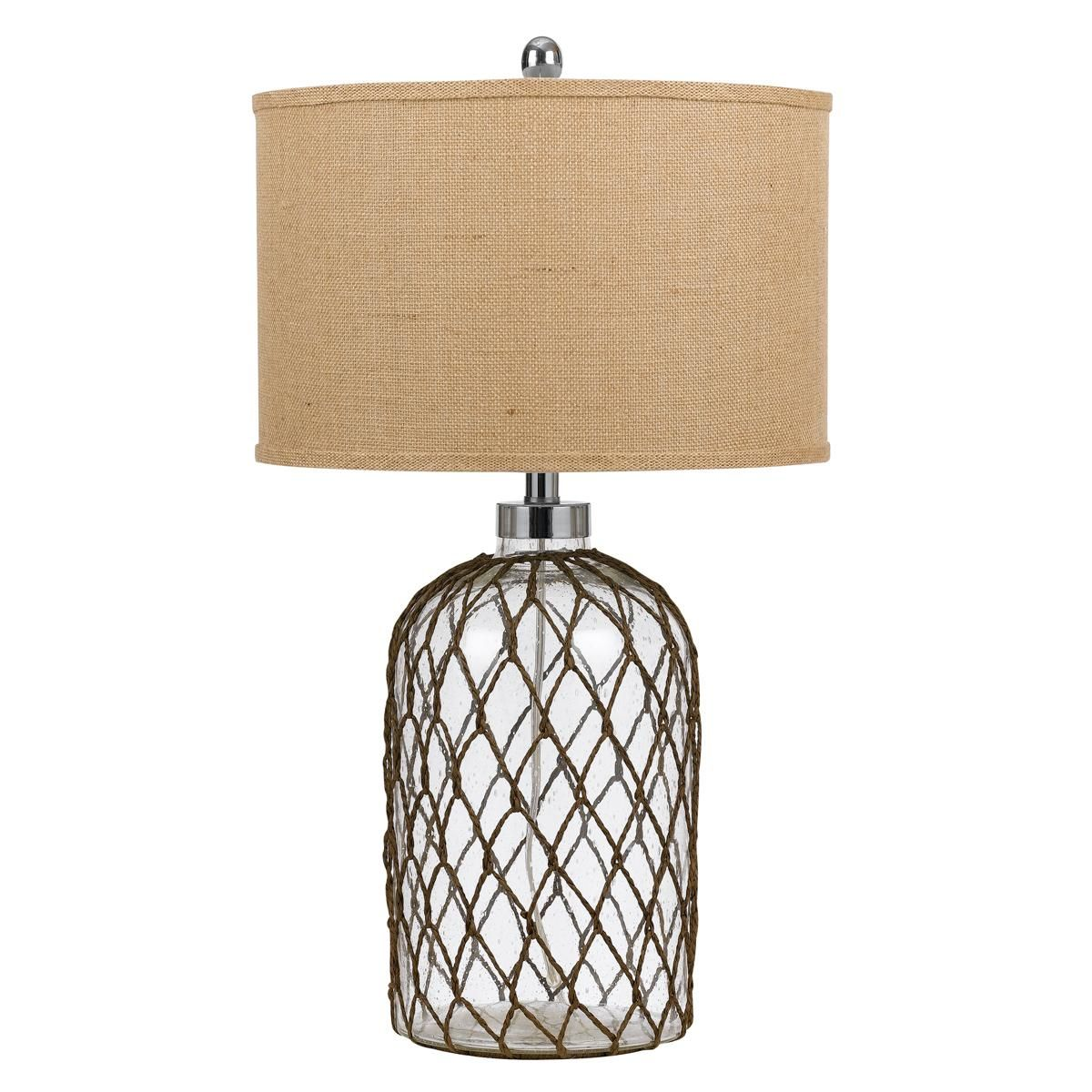Fishnet Glass Jug Table Lamp | Glass, Beach condo and Beach themed decor for Macrame Table Lamp  186ref