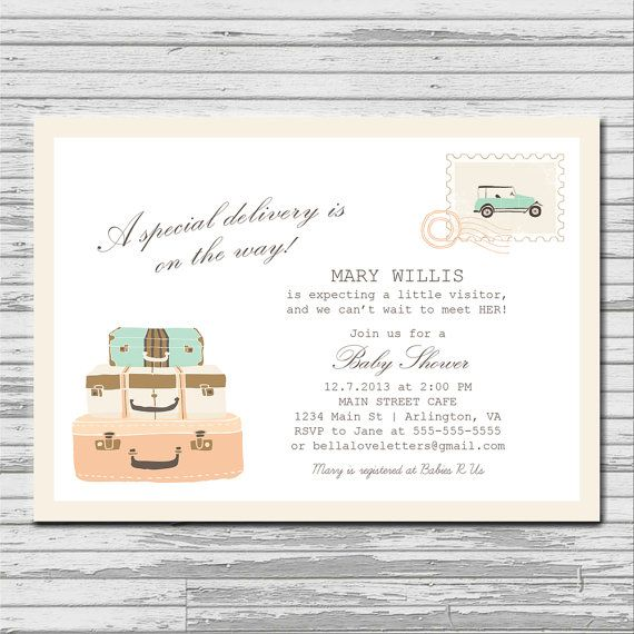 Travel Special Delivery Baby Shower Invitation - 5x7 custom card ...
