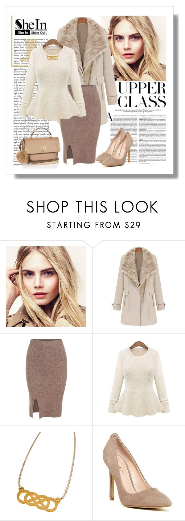 """""""Shein Beige Round Neck Knit Sweater - Contest with a Prize!"""" by elena-indolfi ❤ liked on Polyvore featuring Burberry, Charles by Charles David and River Island"""