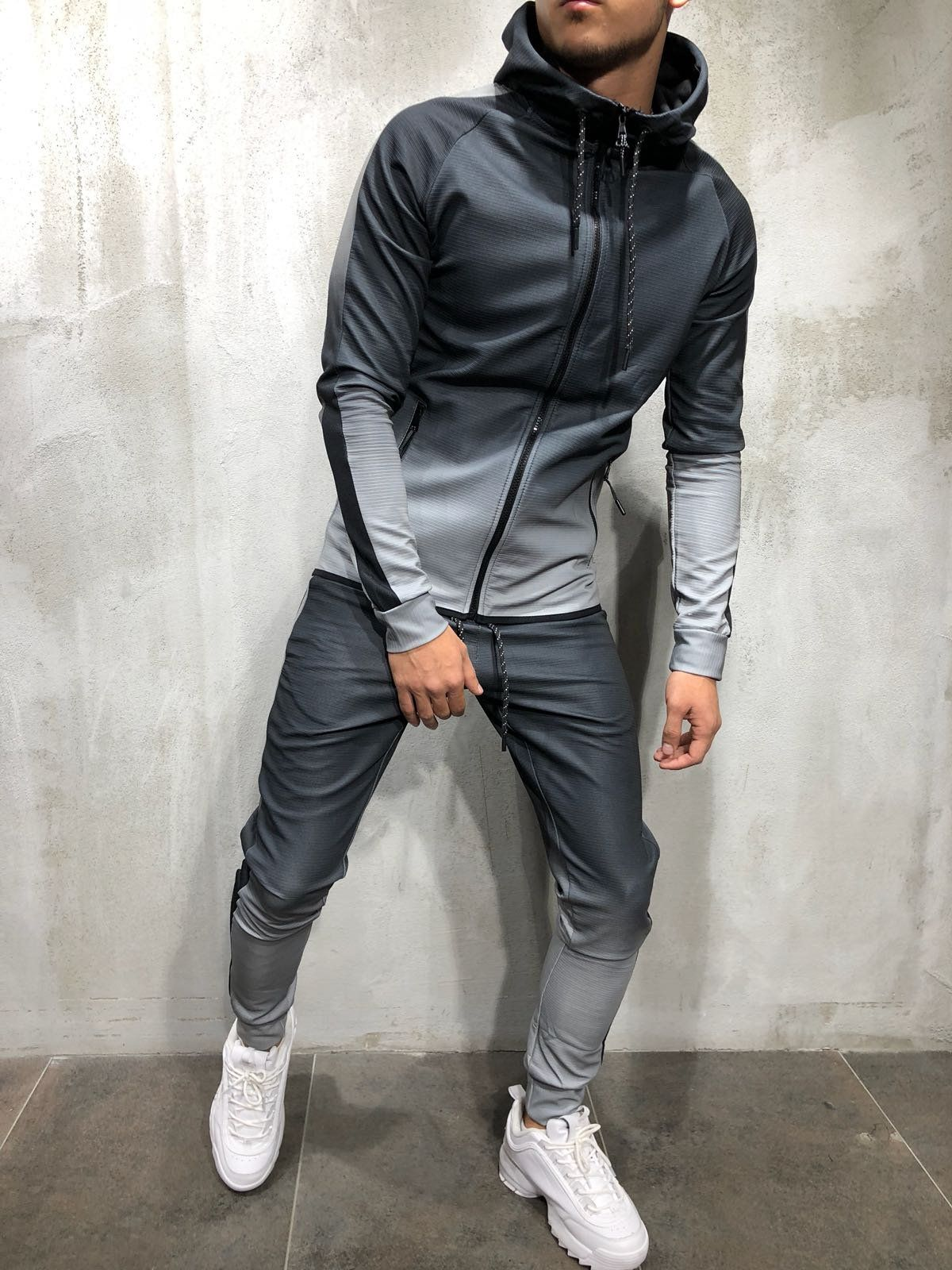 Mens Jogging Suit Tracksuit Hooded Jacket Sweatpants Training Pullover Sport Set