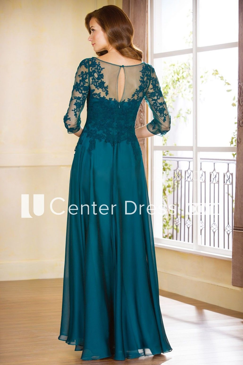 a79c302aaa27 3-4 Sleeved A-Line Gown With Appliques And Illusion Style - UCenter Dress