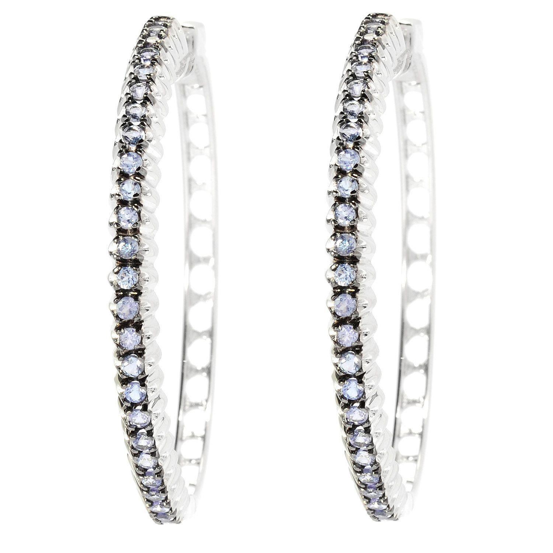 """Sterling Silver 1.75"""" Gemstone Fishtail Design Hoop Earrings by V3designsInc on Etsy"""