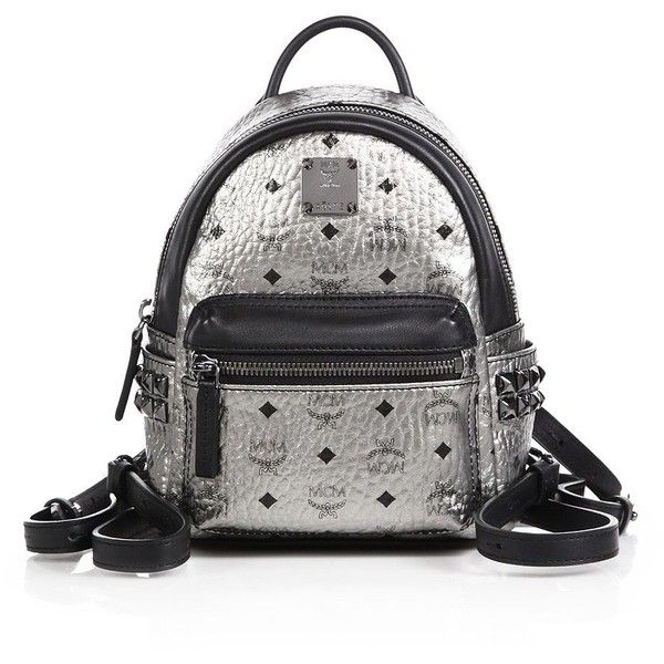 5974f9e0cb64 MCM Stark X Mini Side Stud Coated Canvas Backpack ($680) ❤ liked on  Polyvore featuring bags, backpacks, apparel & accessories, silver, mini bag,  black mini ...