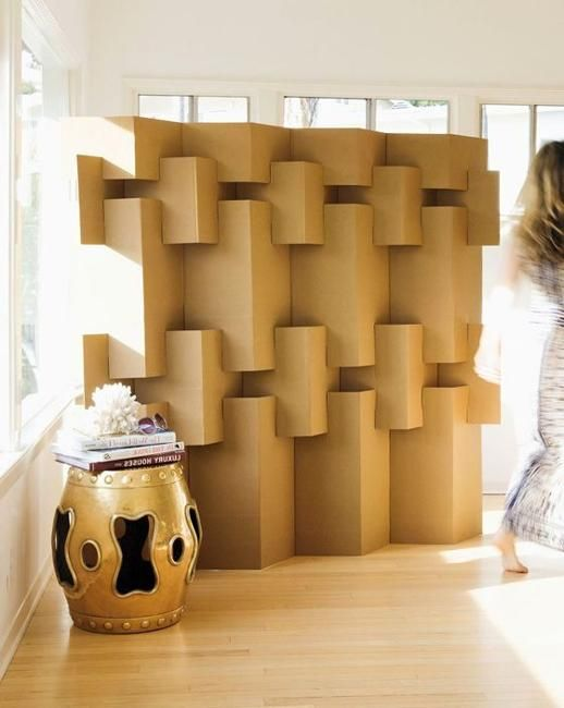 Simple Beauty Of DIY Cardboard Decorative Screens And Room - Diy cardboard room divider privacy screen