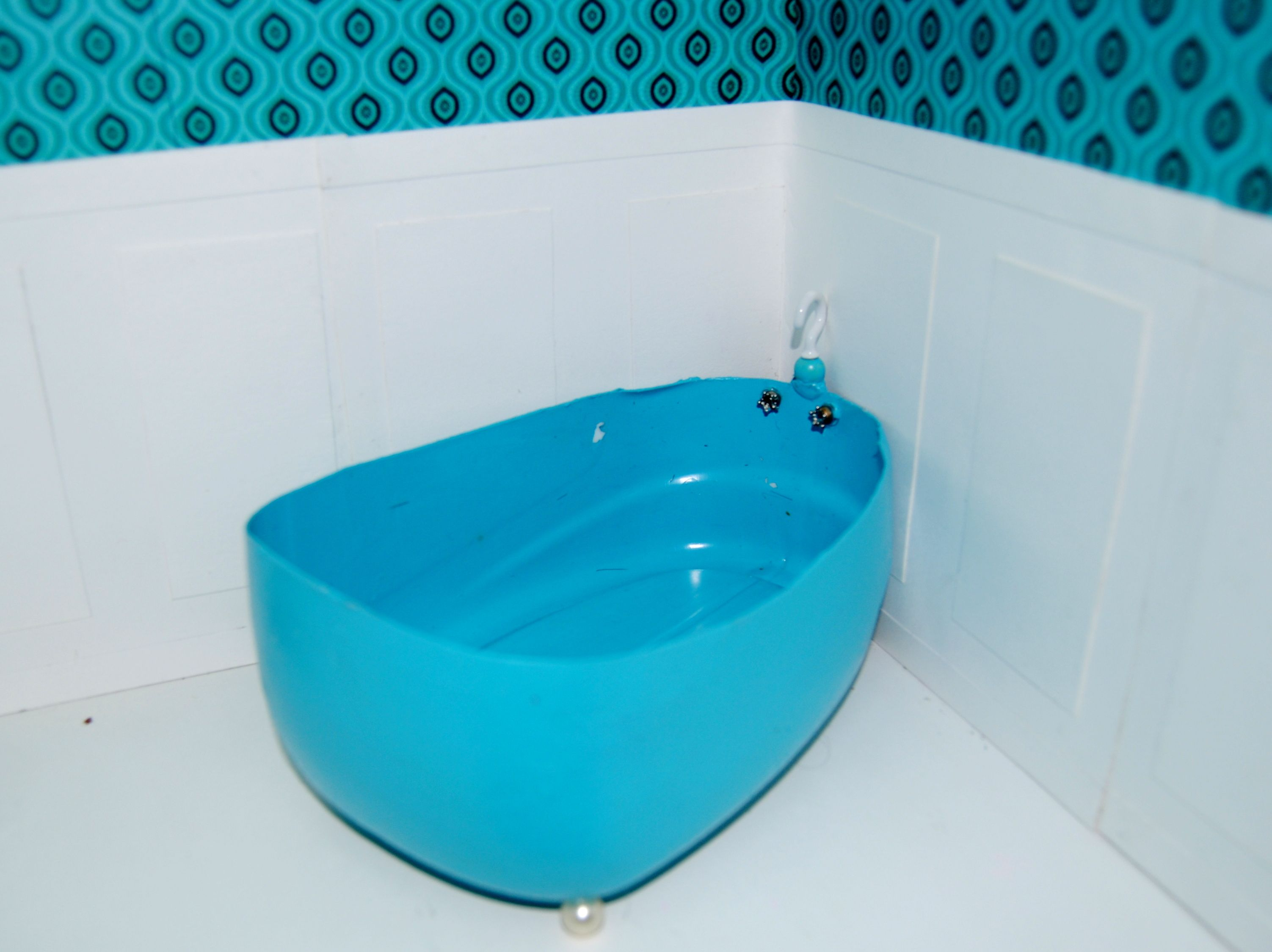 bathtub...made from bottom of a laundry detergent bottle, metal ...