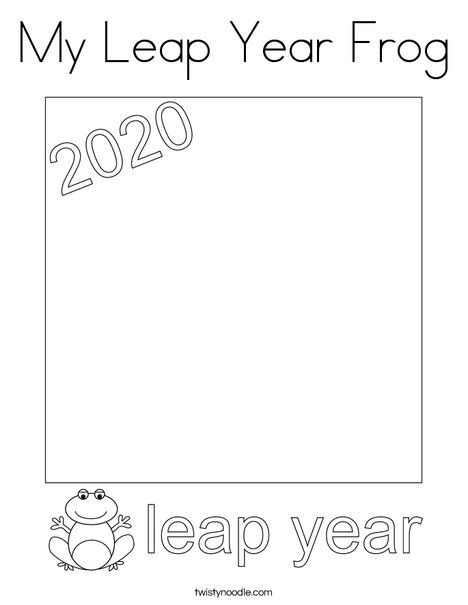 My Leap Year Frog Coloring Page - Twisty Noodle in 2020 ...