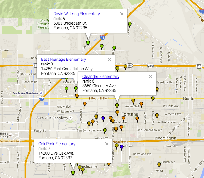 School Ranks API scores and a Color Coded Map for the city of