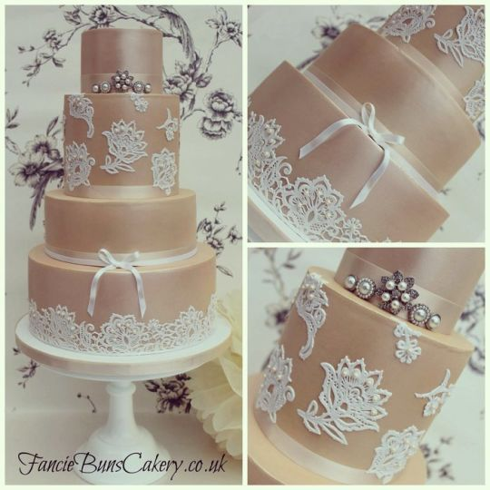 Beautiful Rose Gold Cake With Touches Of Lace Country Wedding