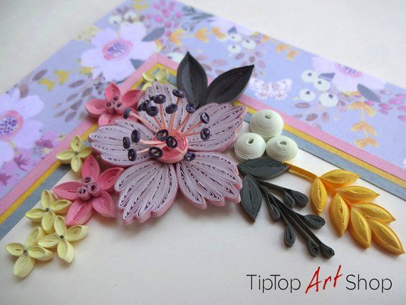 Paper quilling greeting card with handmade flowers unique also for rh pinterest
