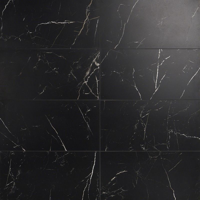 Marble Tech Port Laurent 12x24 Matte Nero Marquina Look Porcelain Tile In 2020 Black Marble Bathroom Porcelain Flooring Marble Tile Bathroom