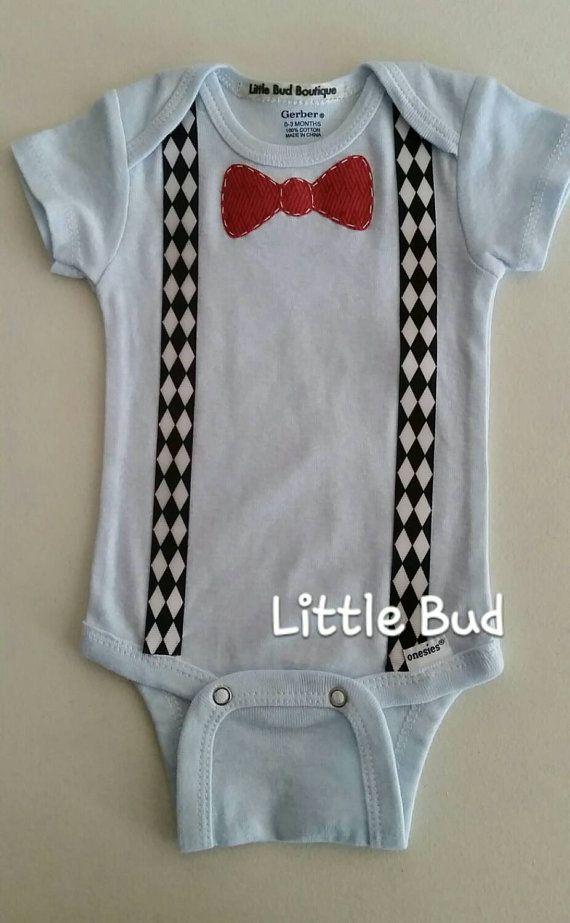 Baby Boy Onesie with Bowtie, Powder Blue Onesie with Red Bowtie and Black and White Arygle Suspenders, Custom Baby Boy Onesie