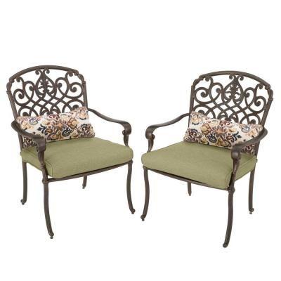 Hampton Bay Edington Cast Back Pair Of Patio Dining Chairs With Celery  Cushions 141