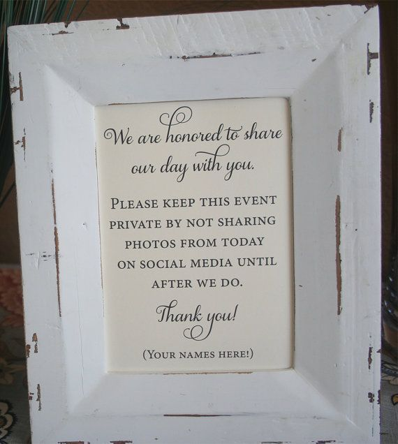 Unplugged Wedding Sign No Social Media 5x7 Private By