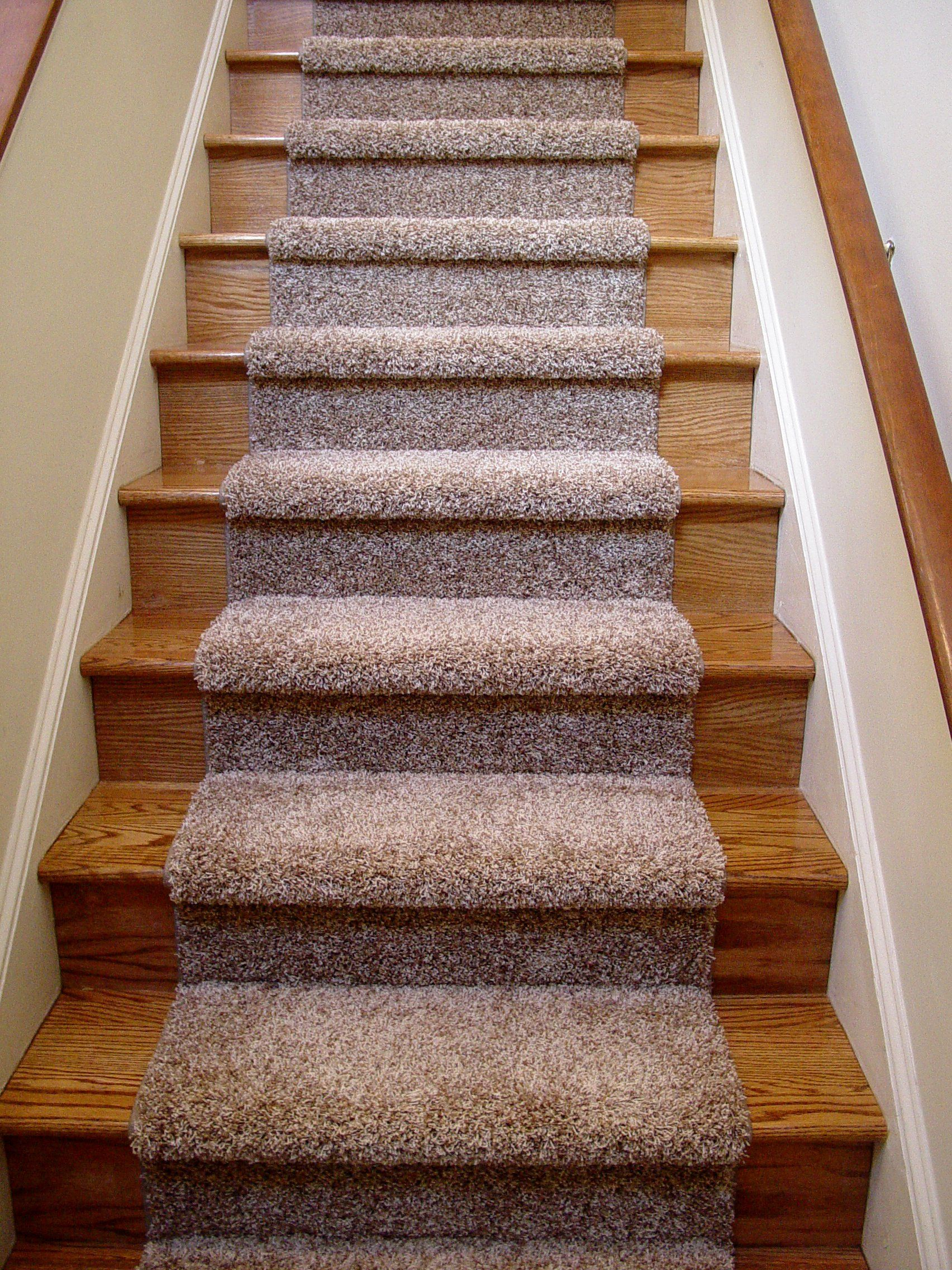 Beautiful Carpet Runner For Wooden Stairs With Nice Blue