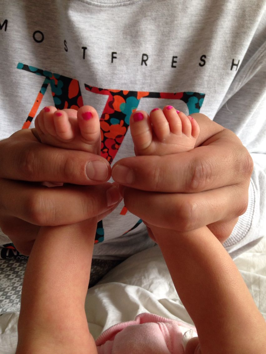 Painted toe nails on baby girl, with daddy\'s hands #baby #girl #toes ...