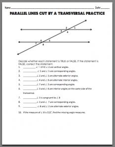 Parallel Lines Cut by a Transversal | Math Activities | Pinterest ...