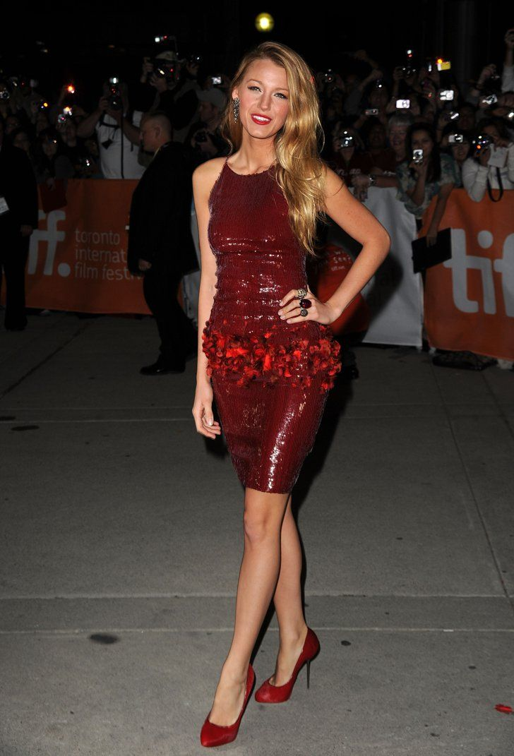 Pin for Later: Blake Lively's 14 Most Memorable Looks — Ever! No. 7 Blake brought sizzle to the Toronto Film Festival in 2010 in a slim Chanel Haute Couture sequined sheath with matching burgundy pumps.