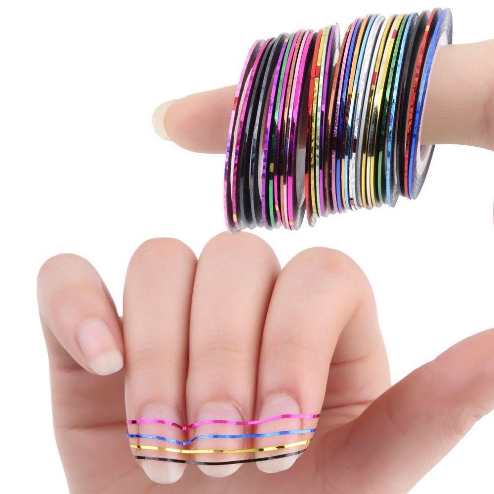 Silber Rolls-klebeband-linie Nail art Sticker Werkzeuge Schönheit ...