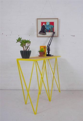 Slim Sculptural Yellow Steel Industrial Console Table Sideboard Mid Century