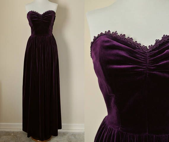 1950s Purple Velvet Evening Gown This Elegant And Super Soft Velvet Dress Would Be Amazing For Pro Strapless Evening Dress Maxi Gown Dress Soft Velvet Dress
