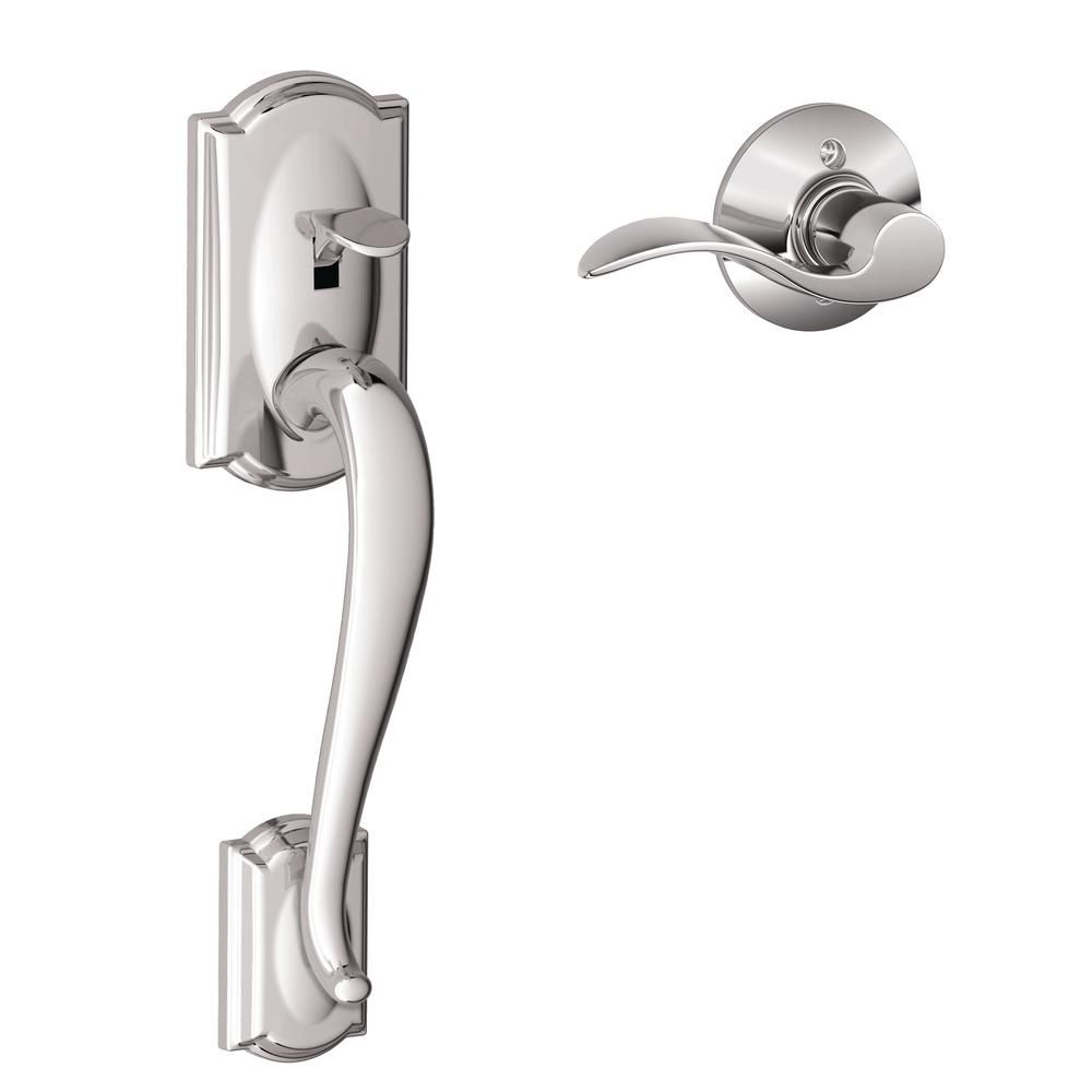 Schlage Camelot Satin Nickel Entry Door Handle With Right Handed