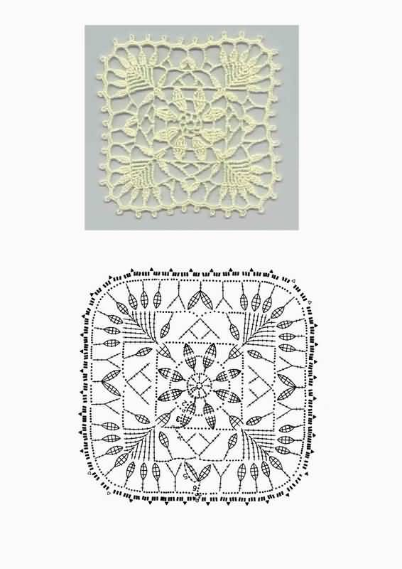 Delicate crochet lace motif: flower with leaves in a square. Very long trebles!! Looks lovely ~~ Цветок с листиками в квадрате