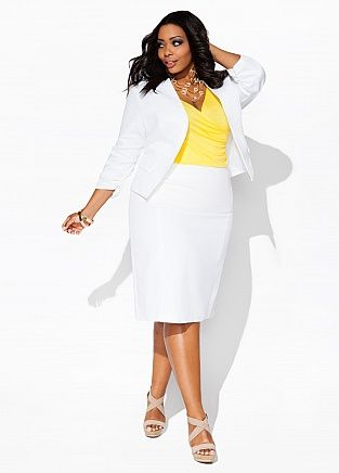 640e0c895b1 Ashley Stewart- White solid rouched jacket and skirt.  WhiteParty ...