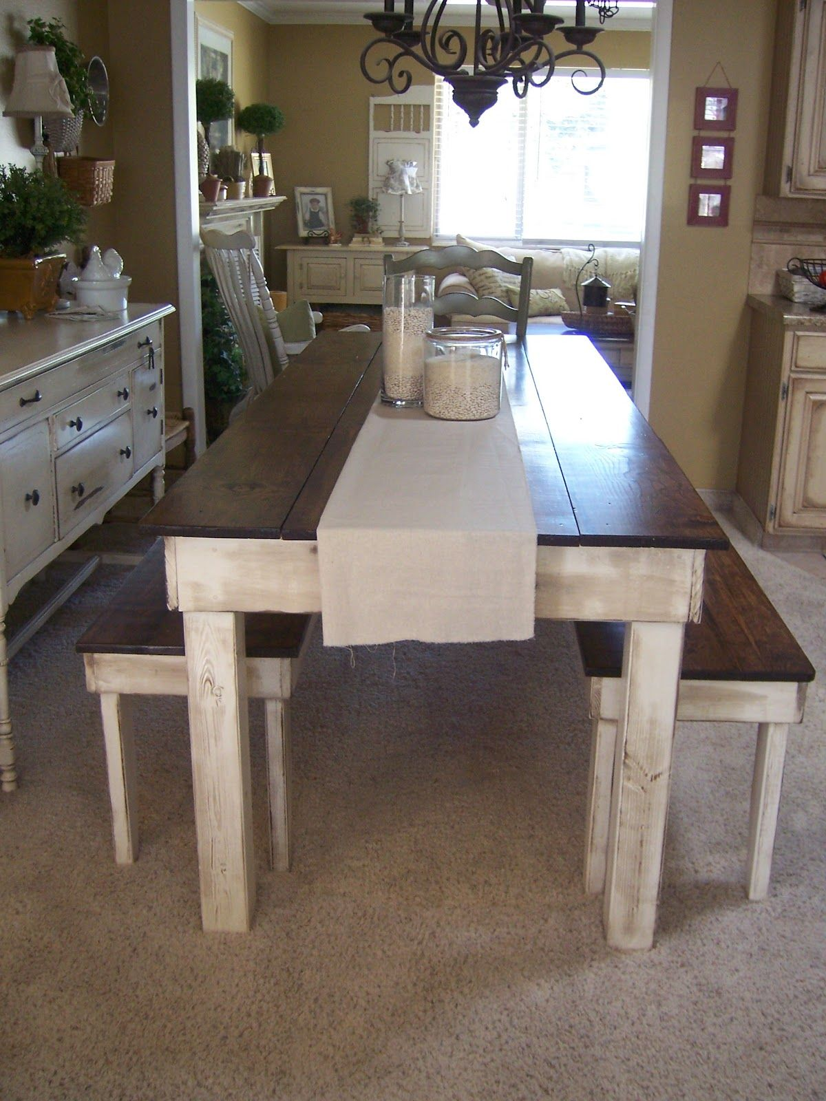 Rustic Homemade Farm Style Dining Room Table With Benches.