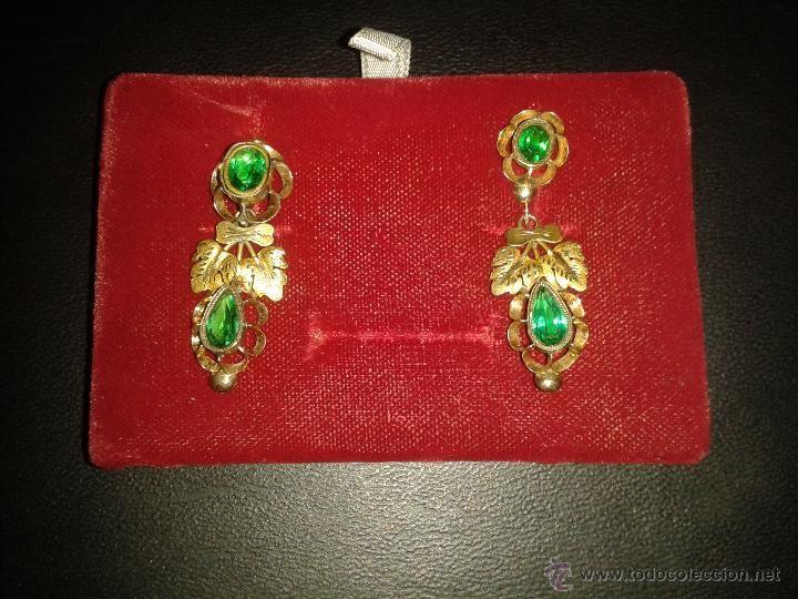Antigüedades: antiguos pendientes de oro. - Foto 4 - 49480667