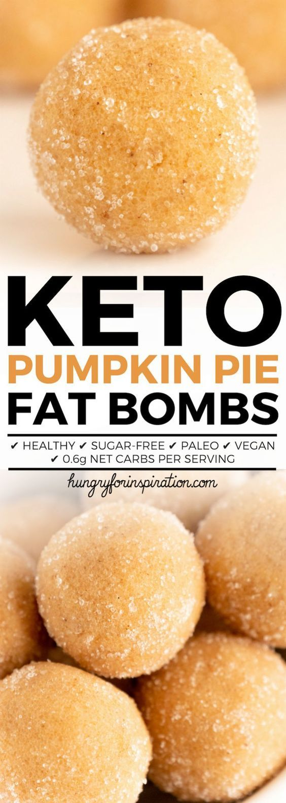 These Healthy No Bake Pumpkin Pie Keto Fat Bombs will satisfy your sweet tooth and give you that cozy fall feeling in no time! They are the perfect Keto Dessert (Low Carb Desserts) as well as Paleo & Vegan! Only 0.6g net carbs per serving! (Keto Snacks) #keto #ketodiet #ketorecipes #ketogenic #ketogenicdiet #ketodessert #lowcarb #lowcarbrecipes #lowcarbdiet #lowcarbdessert #pumpkinrecipes #ketodesserts